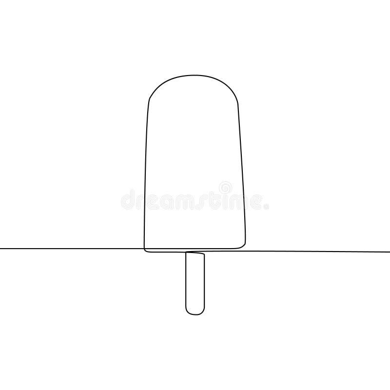 Ciągłej linii Lodowy lolly lub lody Jeden kreskowego rysunku wektoru ilustracja ilustracja wektor