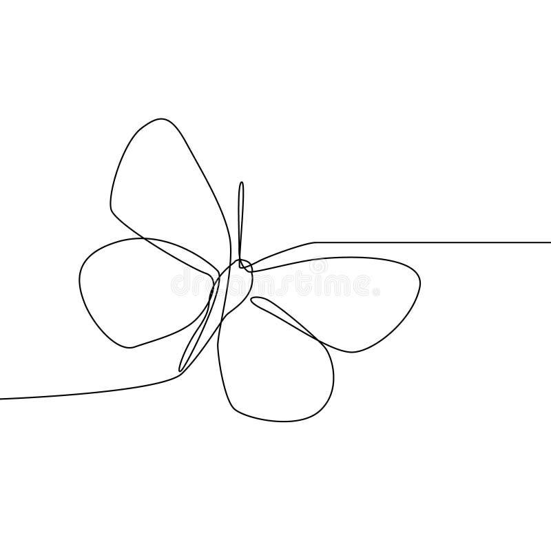 Ciągłej linii motyl odizolowywający na białym tle Motylia wektorowa ilustracja ilustracja wektor