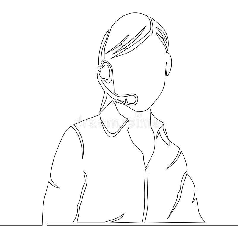 Ciągłej linii obsługi klienta żeński operator royalty ilustracja