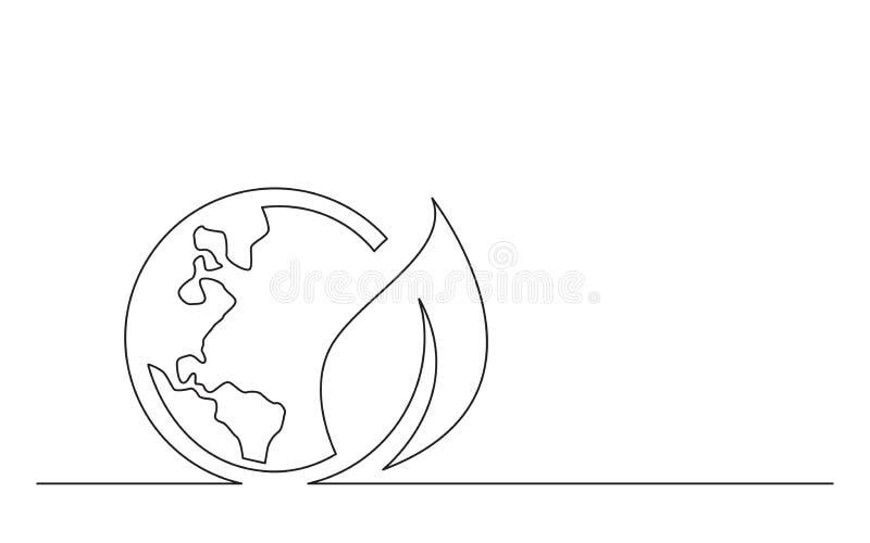 Ciągłej linii pojęcia nakreślenia rysunek zielony energetyczny planety ziemi symbol royalty ilustracja
