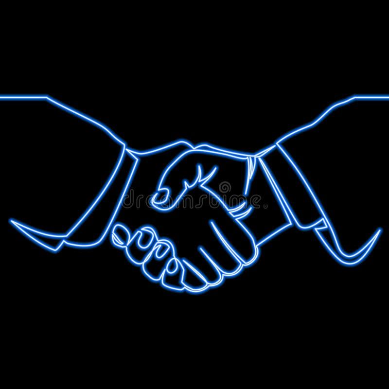 Ciągłej linii uścisku dłoni ikony neonowy pojęcie ilustracja wektor