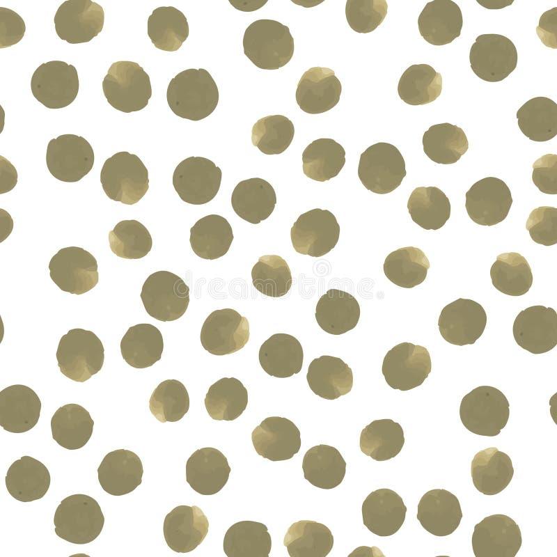 Ciągły Deseniowy polki kropki Przeważny desaturated ciemny kolor żółty obraz stock