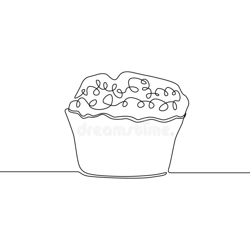 Ciągły jeden kreskowego rysunku słodka bułeczka r?wnie? zwr?ci? corel ilustracji wektora royalty ilustracja