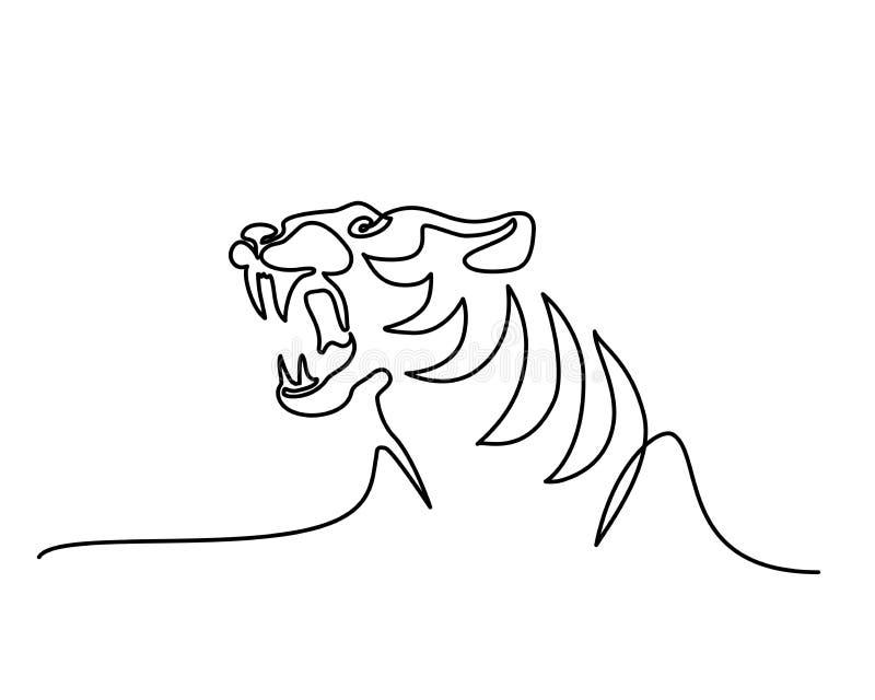Ciągły jeden kreskowego rysunku symbolu Tygrysi logo royalty ilustracja