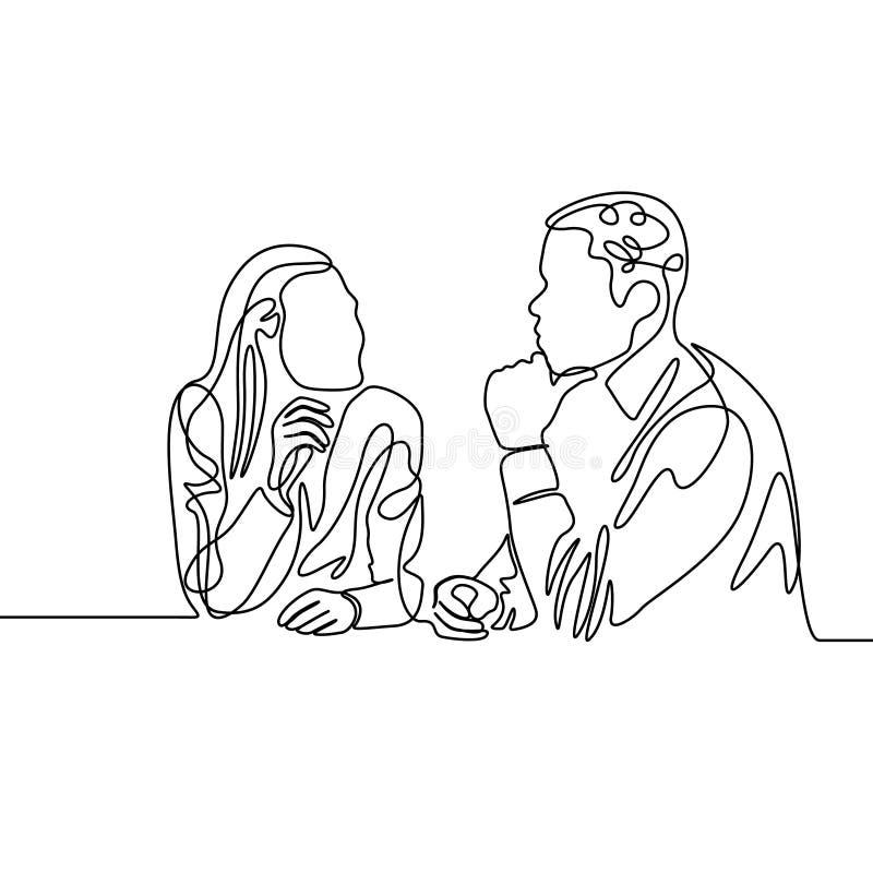 Ciągły jeden kreskowi współpracownicy rozpamiętywają pracę r?wnie? zwr?ci? corel ilustracji wektora royalty ilustracja