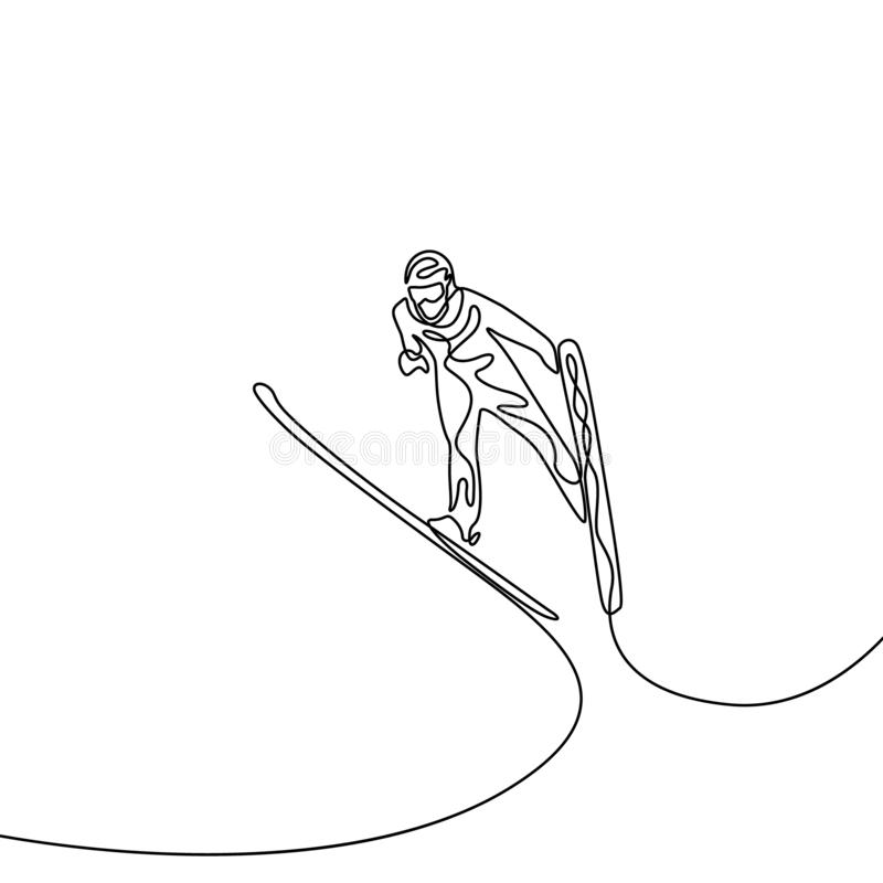 Ciągły jeden kreskowy doskakiwanie na narcie sport olimpijski ilustracji
