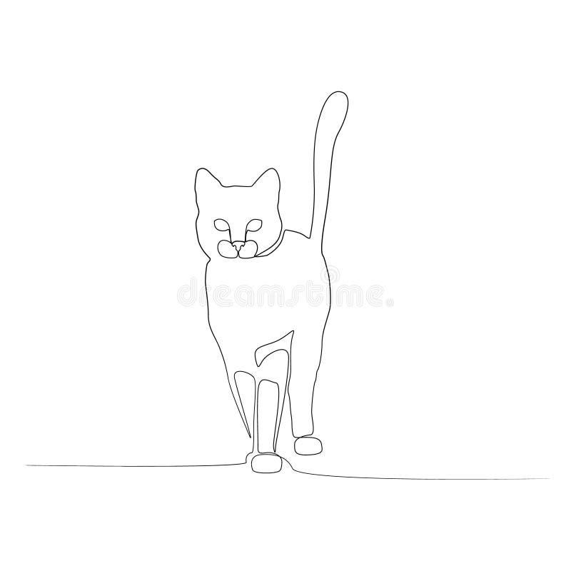Ciągły jeden kreskowy frontowego widoku kot wektor ilustracja wektor