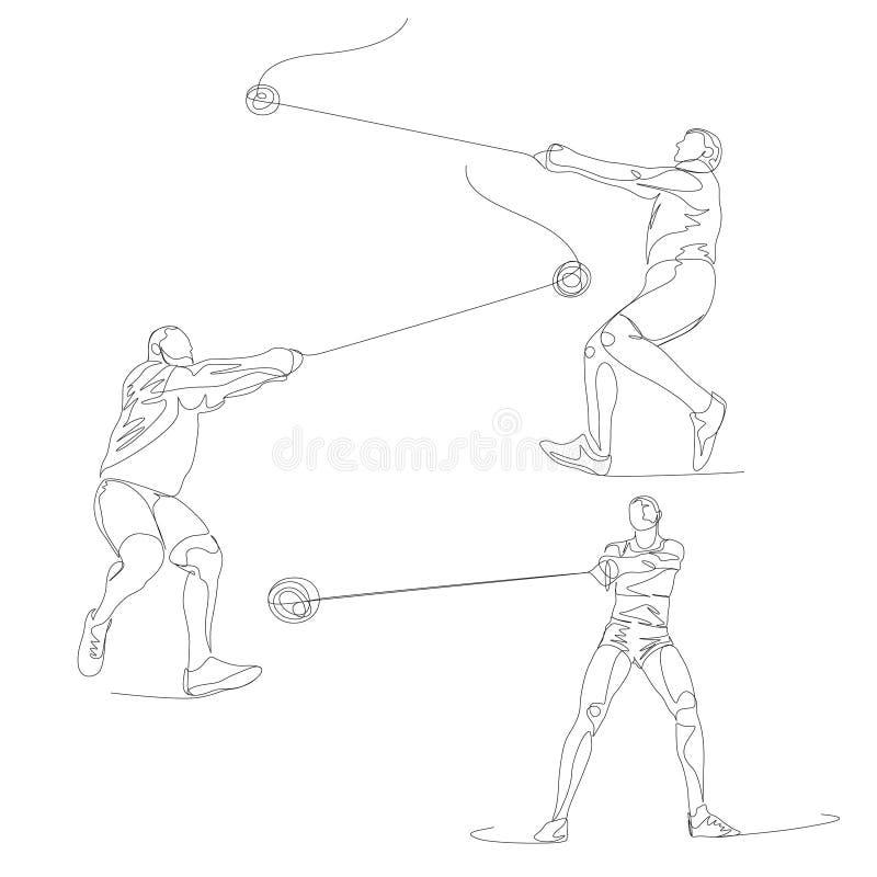 Ciągły jeden kreskowy hummeru miotacza set Lato olimpiady wektor ilustracji