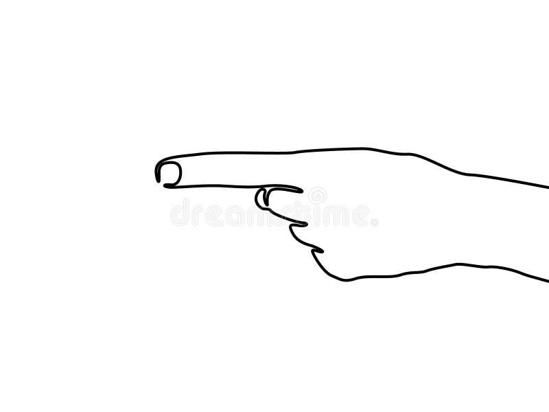 Ciągły jeden kreskowy ręka punkt lewica, Opuszczać znak r?wnie? zwr?ci? corel ilustracji wektora ilustracja wektor