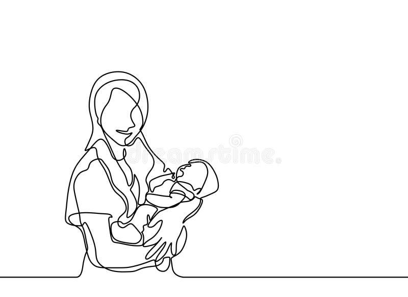 ciągły jeden kreskowy rysunek dziecko znoszący i macierzysty minimalistyczny projekt Miłości i szczęścia pojęcie mama ilustracja wektor