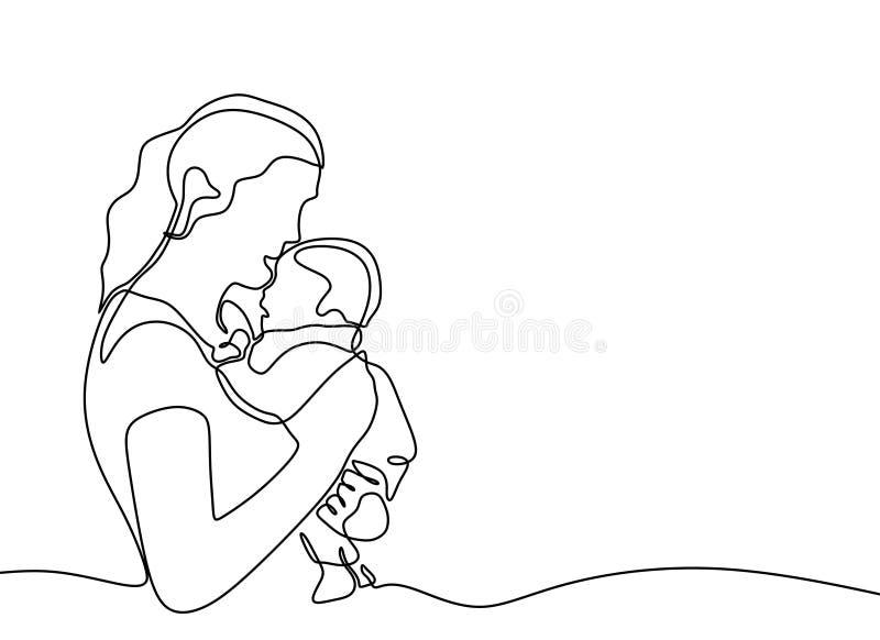 ciągły jeden kreskowy rysunek dziecko znoszący i macierzysty minimalistyczny projekt Miłości i szczęścia pojęcie mama royalty ilustracja