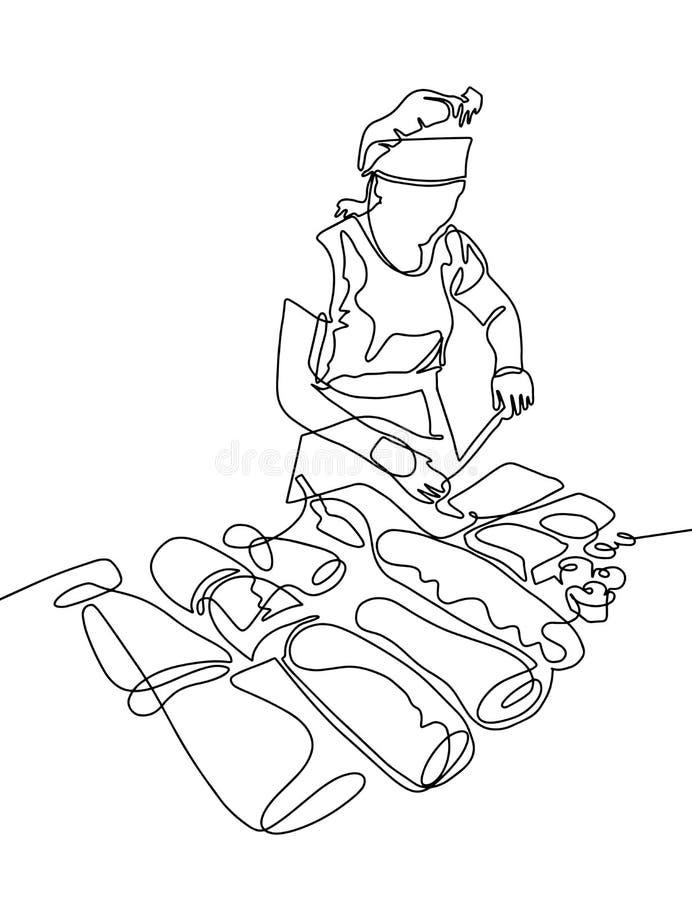 Ciągły jeden kreskowy rysunek kobieta kucharz w ciasto sklepie ilustracji