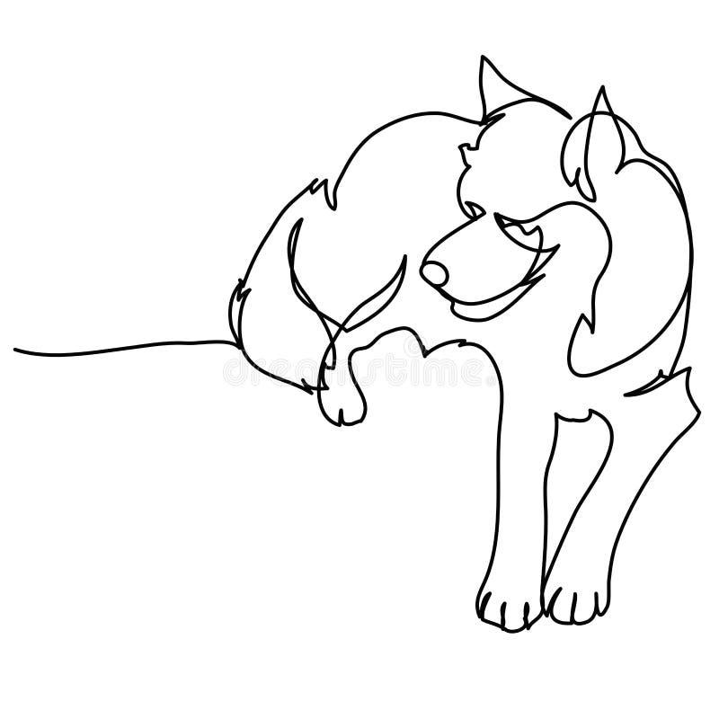 Ciągły jeden kreskowy rysunek pies ilustracja wektor