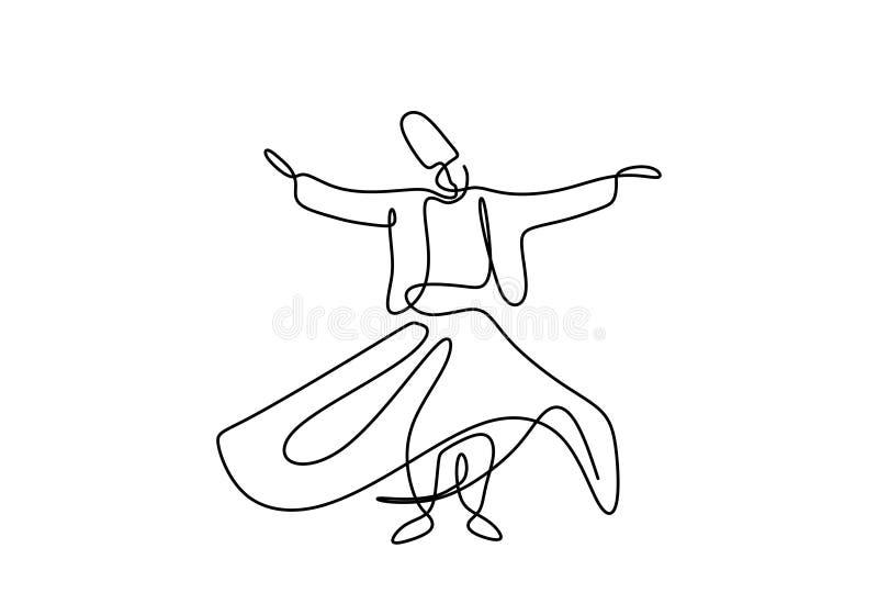 Ciągły jeden kreskowy rysunek sufi tancerza wektoru ilustracja Tradycyjny Sema dancingowy minimalistyczny projekt ilustracja wektor
