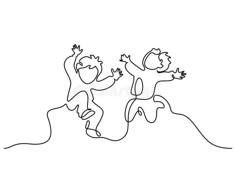 Ciągły jeden kreskowy rysunek Szczęśliwy chłopiec biegać ilustracji