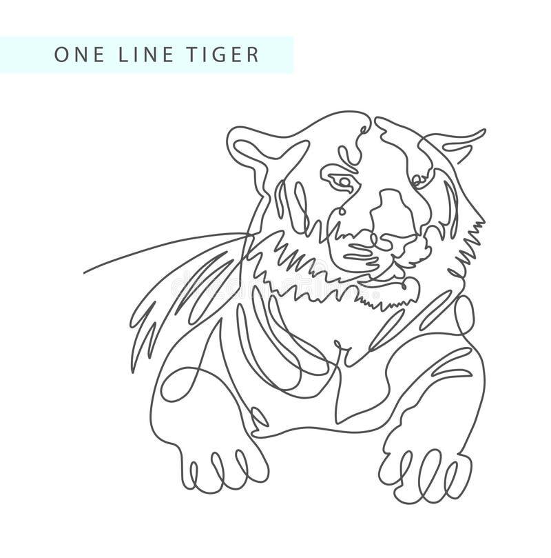 Ciągły jeden kreskowy rysunek tygrysi portret w nowożytnym minimali royalty ilustracja
