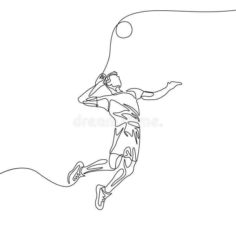 Ciągły jeden kreskowy siatkówka gracza mężczyzna skacze rzucać piłkę ilustracja wektor