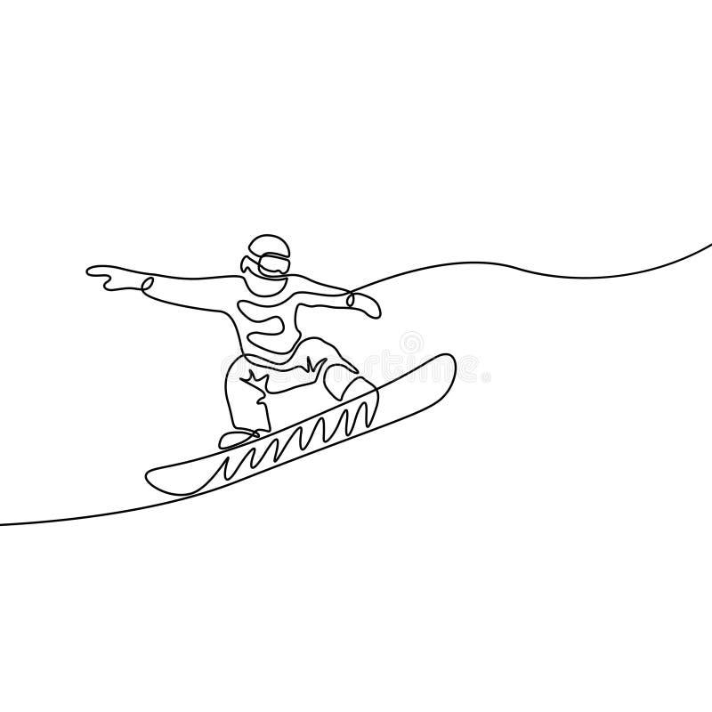 Ciągły jeden kreskowy snowboarder skacze, ekstremum i zimy sporta tematu wektor, royalty ilustracja