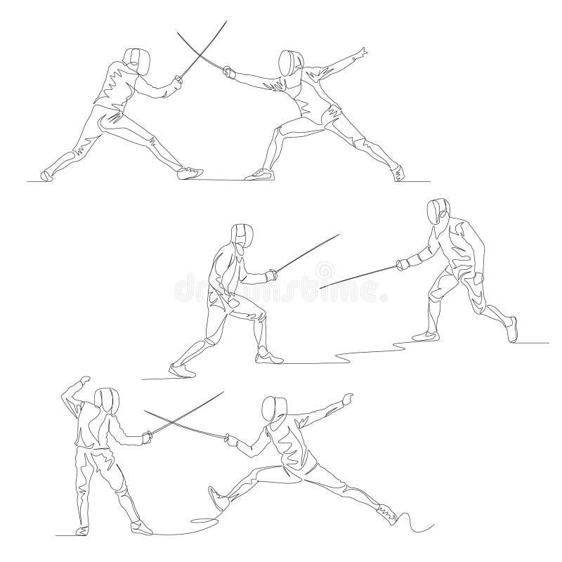 Ciągły jeden kreskowy szermierza set Lato olimpiady wektor royalty ilustracja