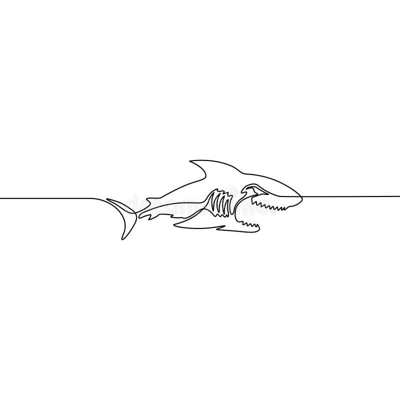 Ciągły jeden kreskowy wektorowy rekin odizolowywający na białym tle royalty ilustracja
