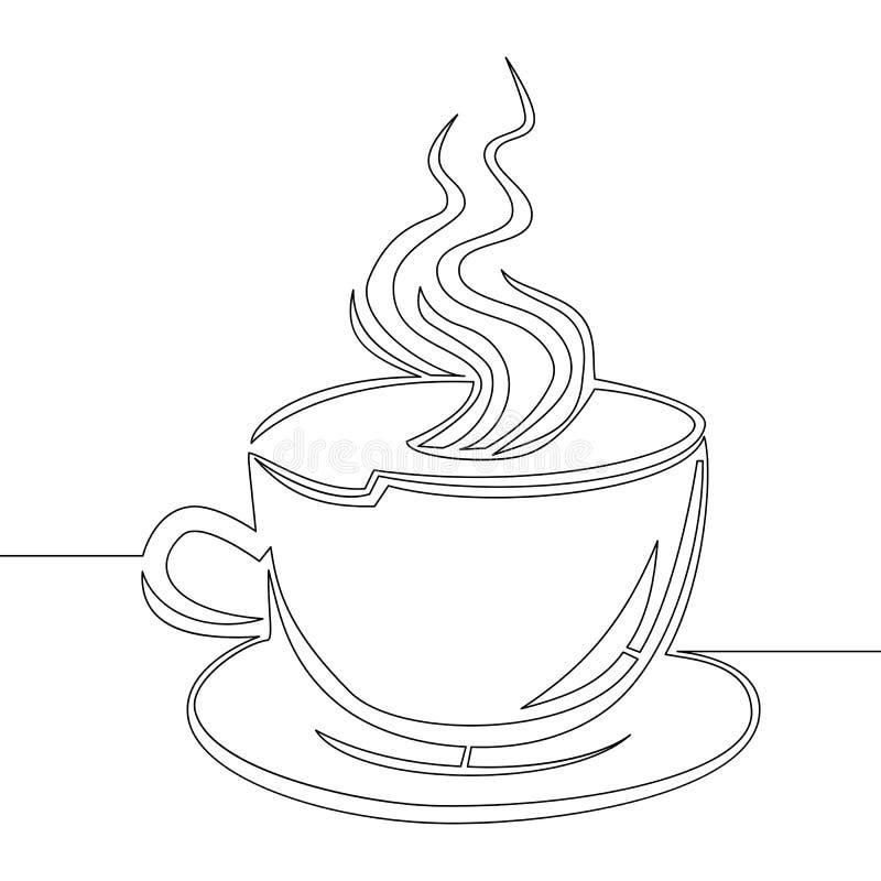 Ciągły kreskowego rysunku filiżanki kawy wektor royalty ilustracja