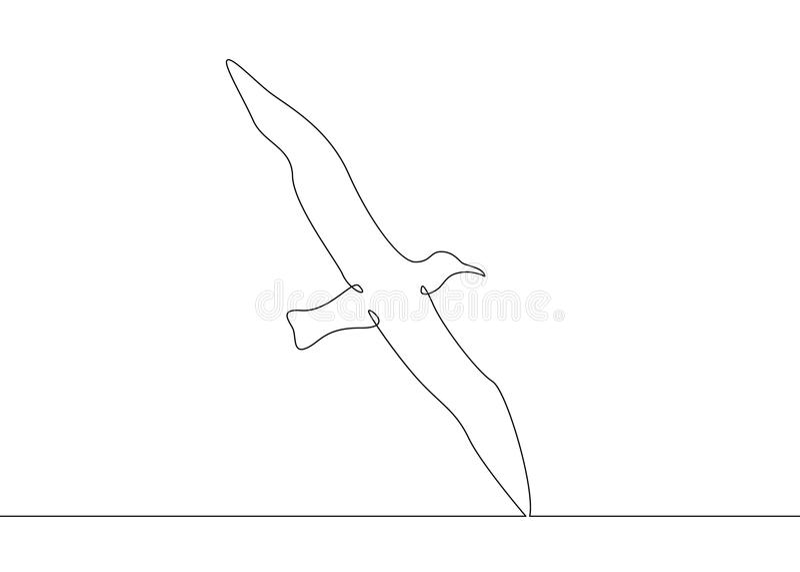 Ciągły kreskowego rysunku ptaka latanie royalty ilustracja