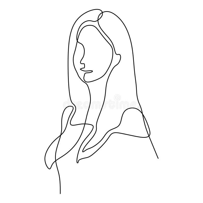 Ciągły kreskowy rysunek ślicznej dziewczyny twarzy minimalistyczny projekt na białym tle ilustracja wektor