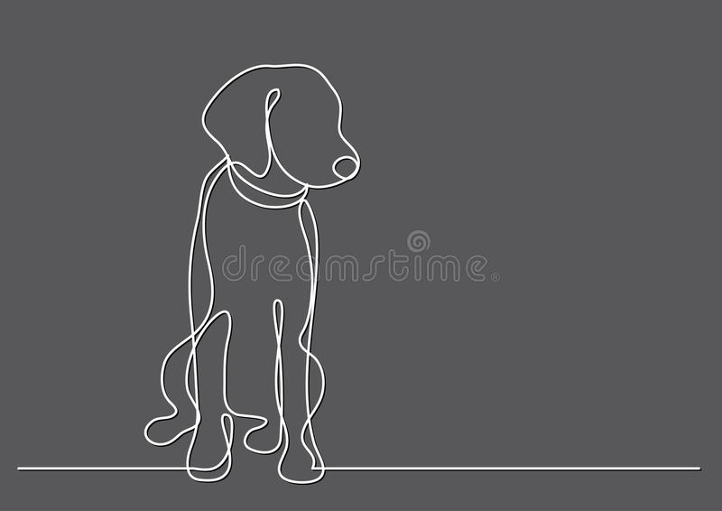 Ciągły kreskowy rysunek śliczny pies royalty ilustracja