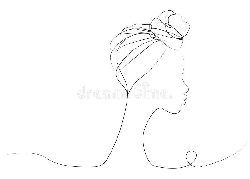 Ciągły kreskowy rysunek Afro kobieta Shenbolen Ankara Headwrap kobiet Headtie szalika Afrykański Tradycyjny turban Wektorowy ikon ilustracja wektor