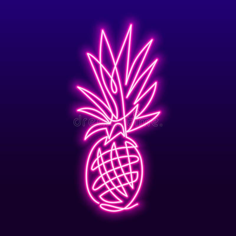 Ciągły kreskowy rysunek ananasowy pojęcie owocowa wektorowa ilustracja Wektorowy neonowy znak royalty ilustracja