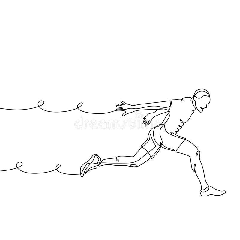 Ciągły kreskowy rysunek bieg mężczyzny minimalizmu projekt osoba bieg ilustracji