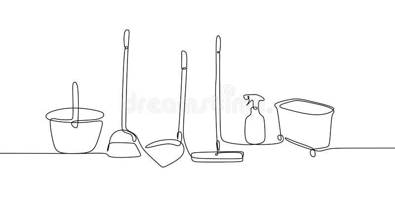 ciągły kreskowy rysunek czysty czyści narzędzia royalty ilustracja