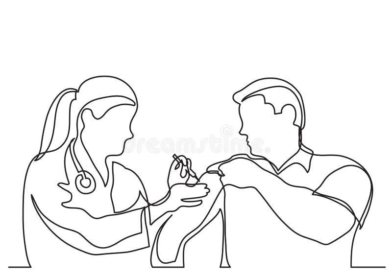 Ciągły kreskowy rysunek doktorski robi szczepienie strzał obsługiwać royalty ilustracja
