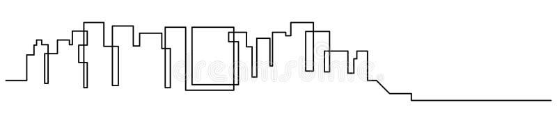 Ciągły kreskowy rysunek dom, budynku mieszkalnego pojęcie, logo, symbol, budowa, wektorowy ilustracyjny prosty ilustracji