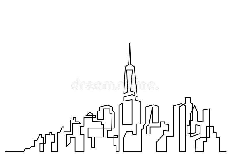 Ciągły kreskowy rysunek duży miasta linia horyzontu royalty ilustracja