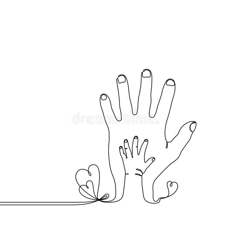 Ciągły kreskowy rysunek dziecka dziecka ręka na rodzic ręce ilustracja wektor