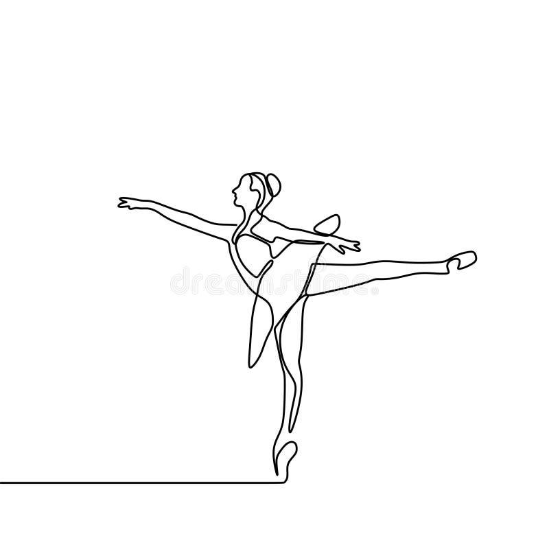 ciągły kreskowy rysunek dziewczyna dancingowy balet Baleriny pojęcia minimalizmu styl royalty ilustracja