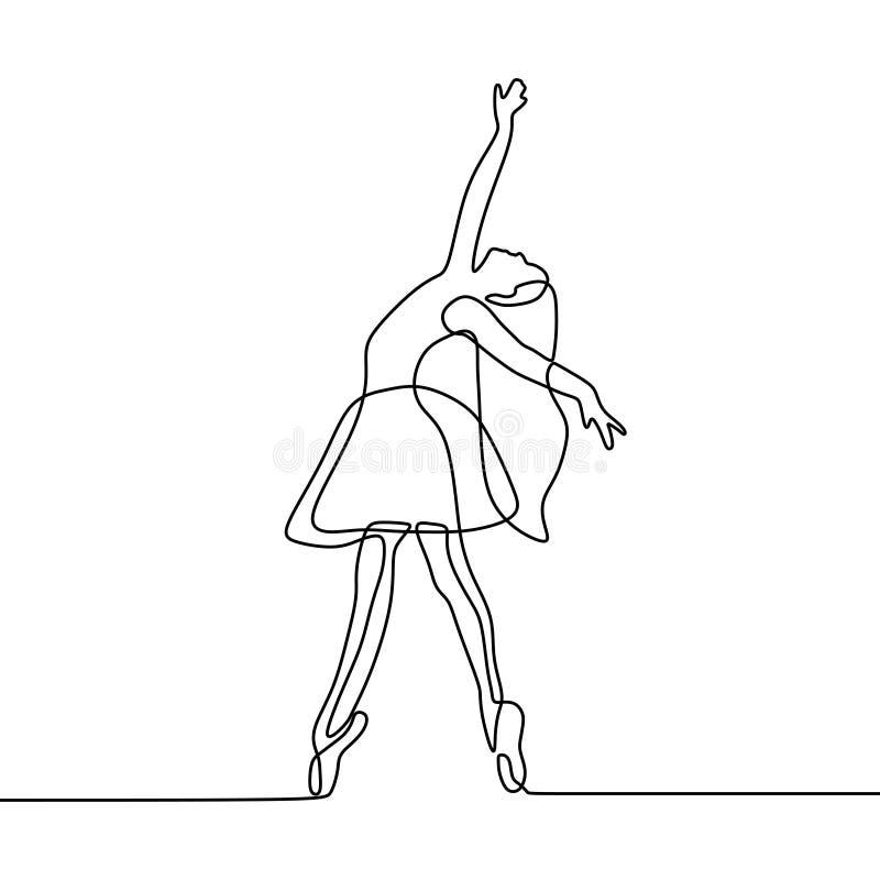 ciągły kreskowy rysunek dziewczyna dancingowy balet Baleriny pojęcia minimalizmu styl ilustracja wektor