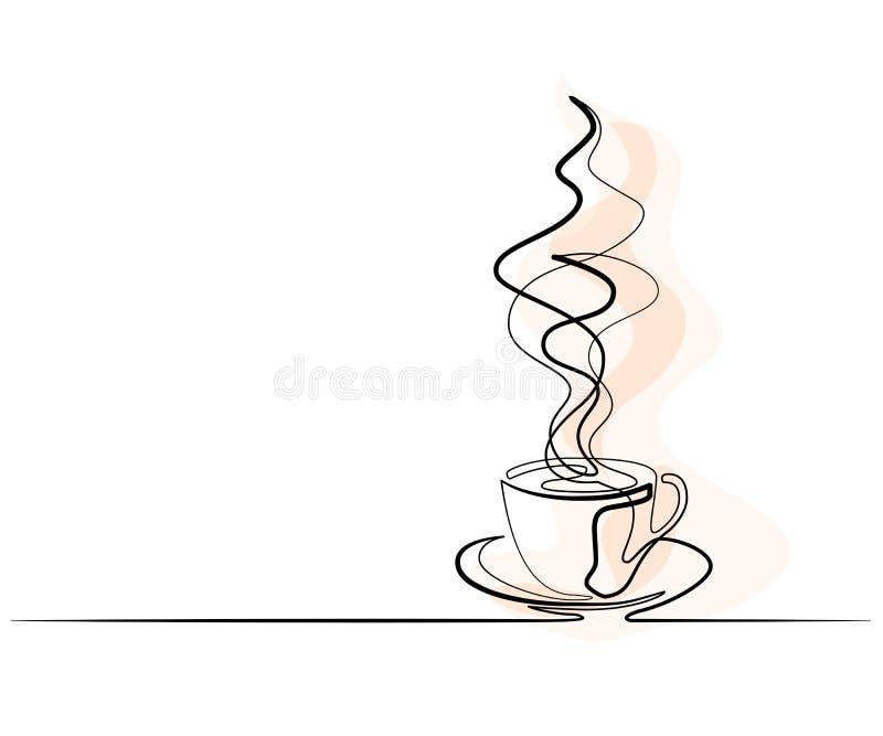 Ciągły kreskowy rysunek filiżanka kawy ilustracji