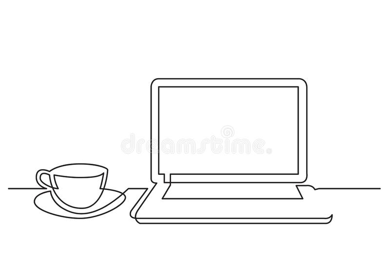 Ciągły kreskowy rysunek laptop filiżanka herbata royalty ilustracja