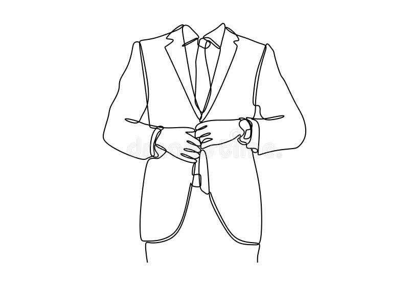 Ciągły kreskowy rysunek ludzie, biznes, moda i ubraniowy pojęcie, - zamyka w górę mężczyzny w koszulowy opatrunkowym w górę i prz royalty ilustracja