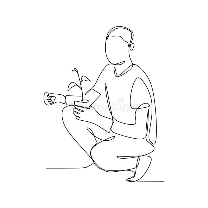ciągły kreskowy rysunek mężczyzna trzyma rośliny royalty ilustracja