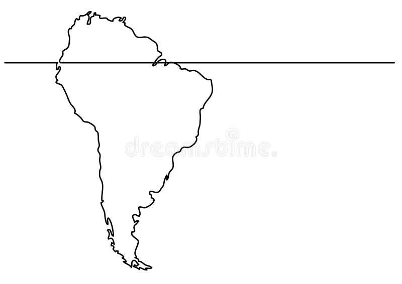 Ciągły kreskowy rysunek - mapa Ameryka Południowa royalty ilustracja