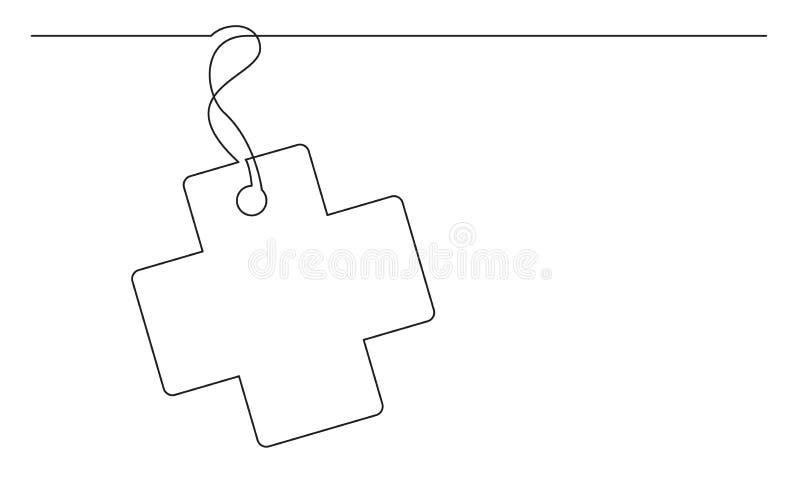 Ciągły kreskowy rysunek medyczny przecinający etykietki etykietki projekt royalty ilustracja