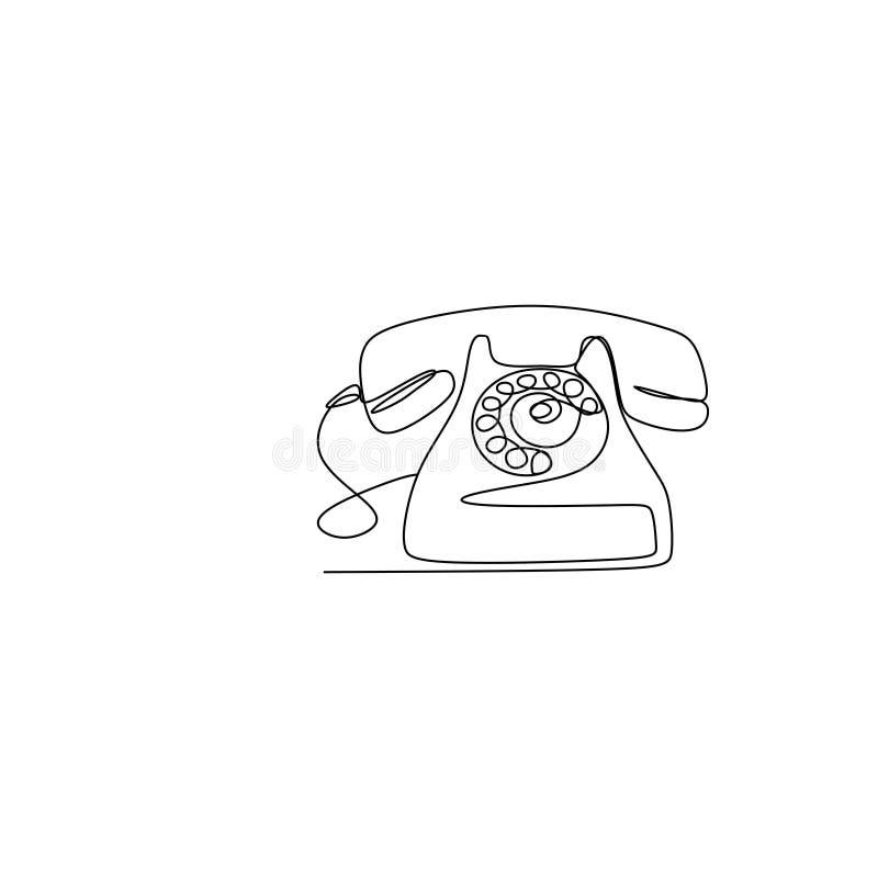 Ciągły kreskowy rysunek minimalistyczny telefon royalty ilustracja