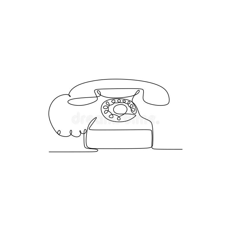 Ciągły kreskowy rysunek minimalistyczny telefon Retro rocznika telefon z minimalizmu projektem ilustracja wektor