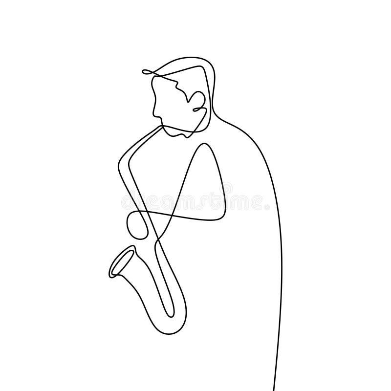 ciągły kreskowy rysunek muzycy jazzowi bawić się tubowych muzycznych instrumenty ilustracja wektor