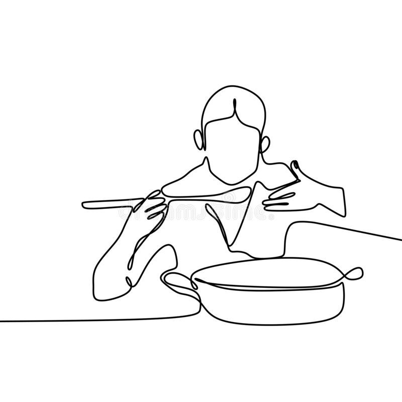 ciągły kreskowy rysunek od szefa kuchni próbuje gotować je royalty ilustracja