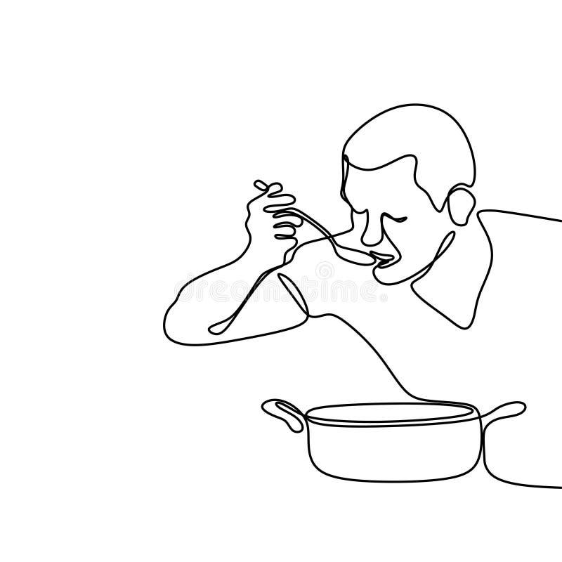 ciągły kreskowy rysunek od szefa kuchni próbuje gotować je ilustracji
