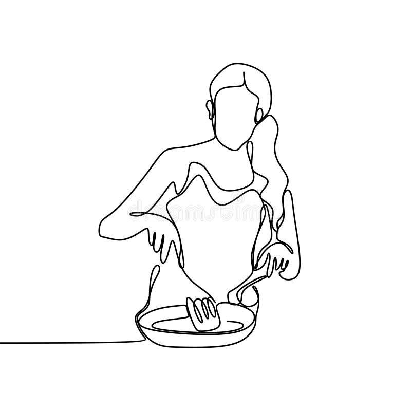 ciągły kreskowy rysunek od szefa kuchni próbuje gotować je ilustracja wektor